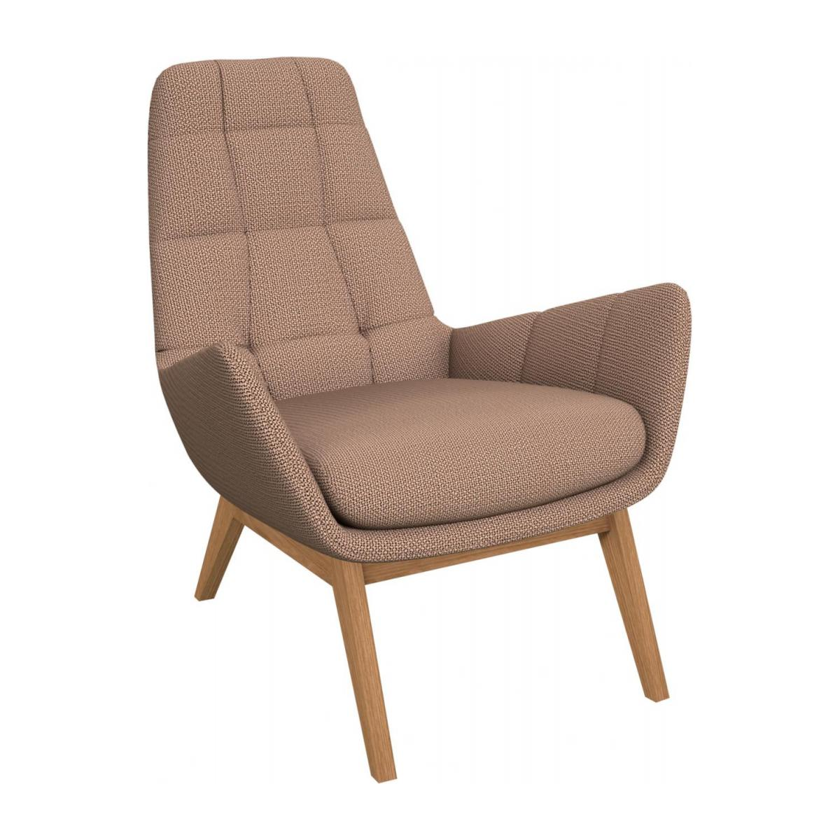 Armchair in Fasoli fabric, Jatoba brown with oak legs n°1