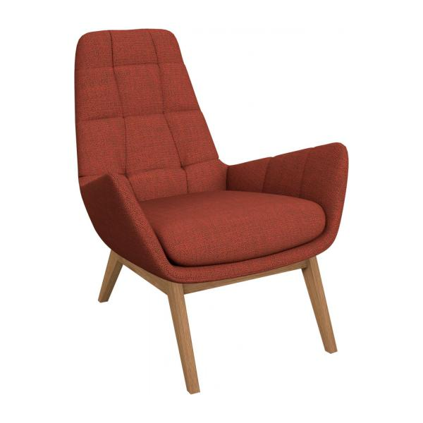 Armchair in Fasoli fabric, warm red rock with oak legs