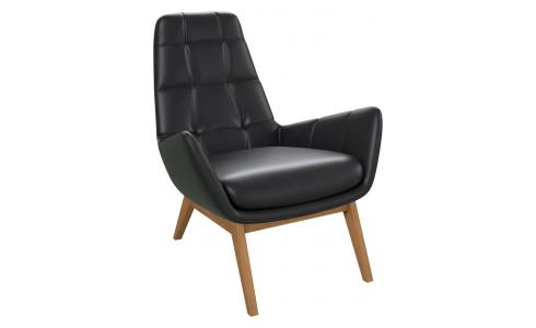 Armchair in Savoy semi-aniline leather, platin black with oak legs