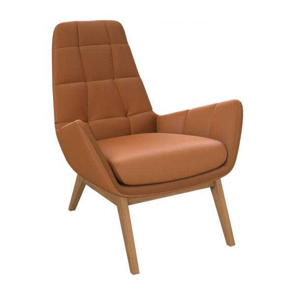 Armchair in Savoy semi-aniline leather, cognac with oak legs