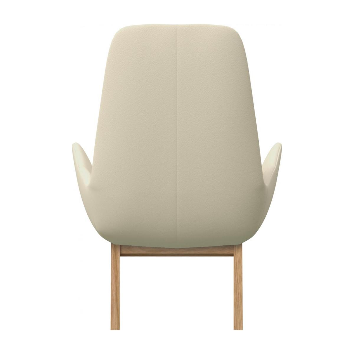 Armchair in Savoy semi-aniline leather, off white with oak legs n°3
