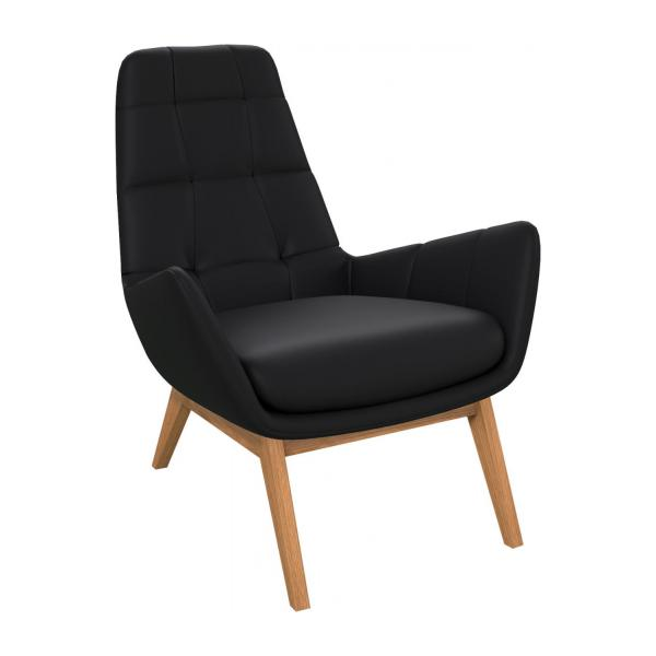Armchair in Eton veined leather, black with oak legs