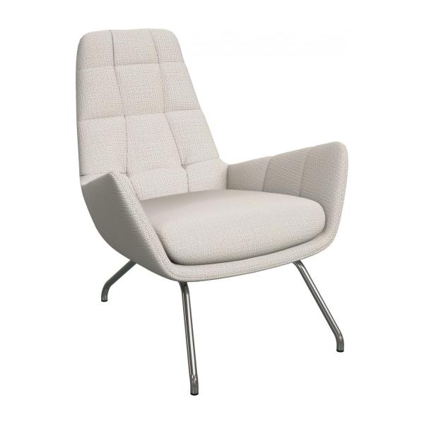 Armchair in Fasoli fabric, snow white with chromed metal legs