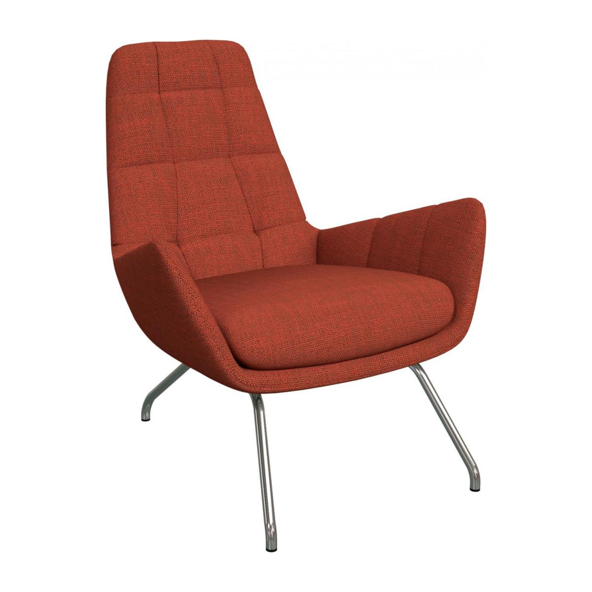 Armchair in Fasoli fabric, warm red rock with chromed metal legs n°1
