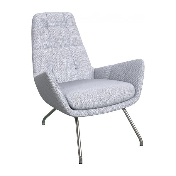 Armchair in Fasoli fabric, grey sky with chromed metal legs