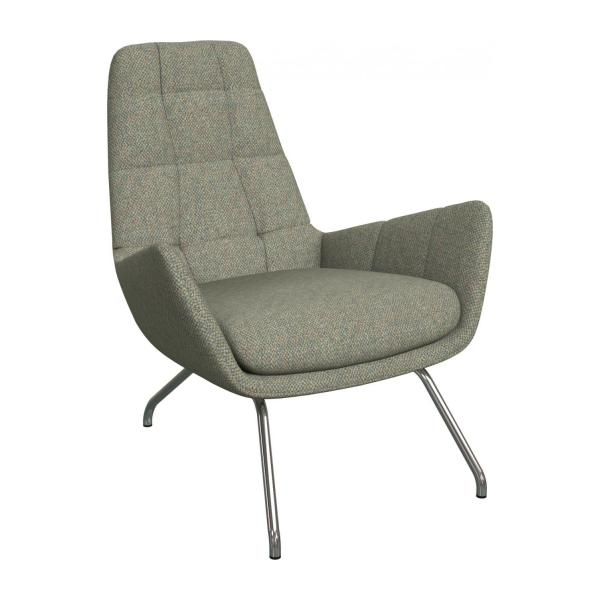 Armchair in Bellagio fabric, organic green with chromed metal legs