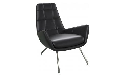 Armchair in Savoy semi-aniline leather, platin black with chromed metal legs