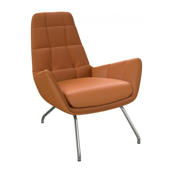 Armchair in Savoy semi-aniline leather, cognac with chromed metal legs