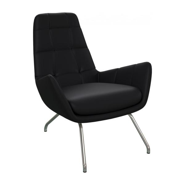 Armchair in Eton veined leather, black with chromed metal legs
