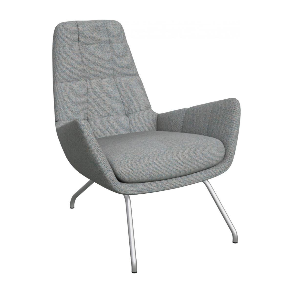 Armchair in Lecce fabric, blue reef with matt metal legs n°1