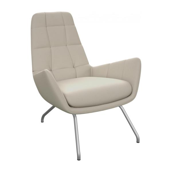 Armchair in Eton veined leather, cream with matt metal legs