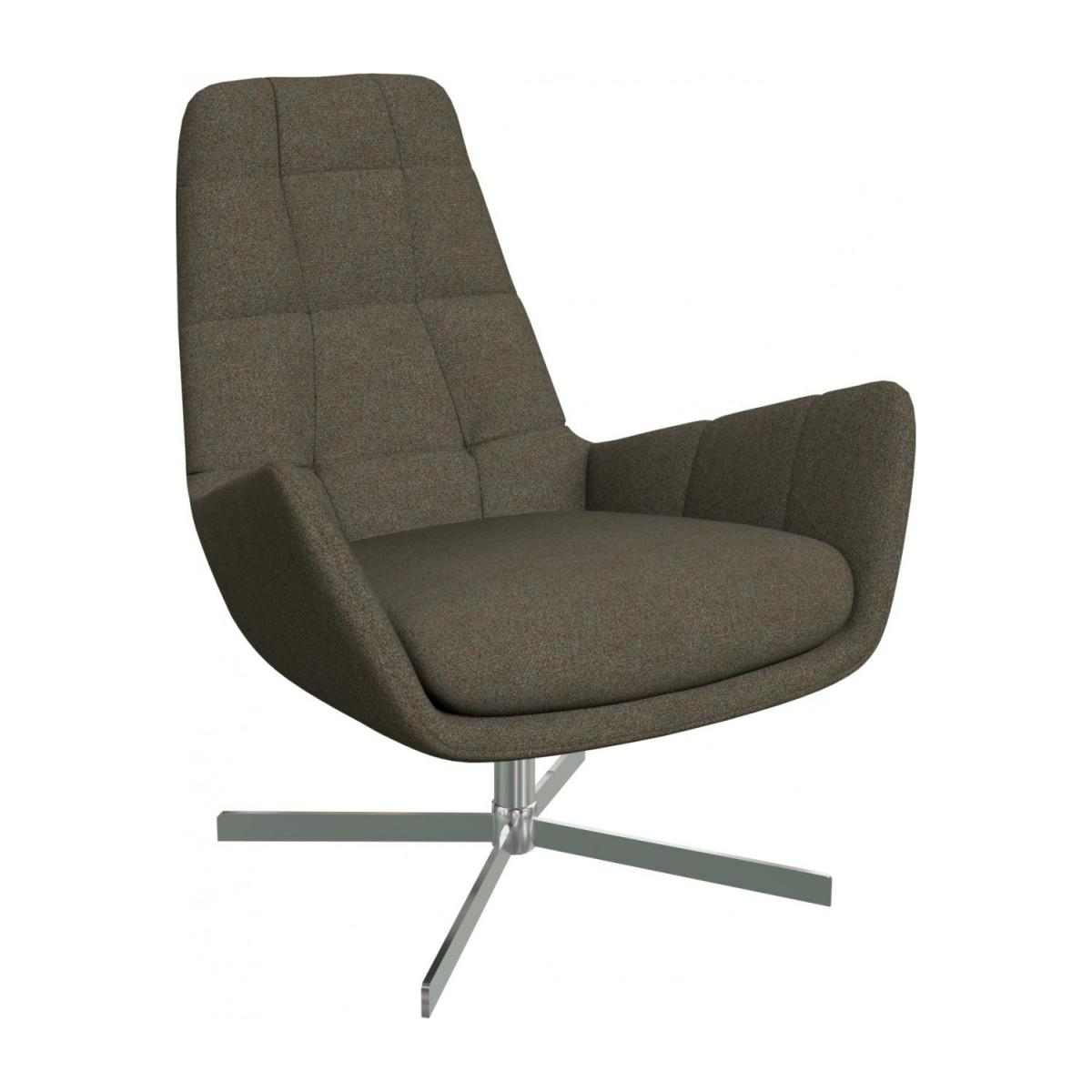 Armchair in Lecce fabric, slade grey with metal cross leg n°1