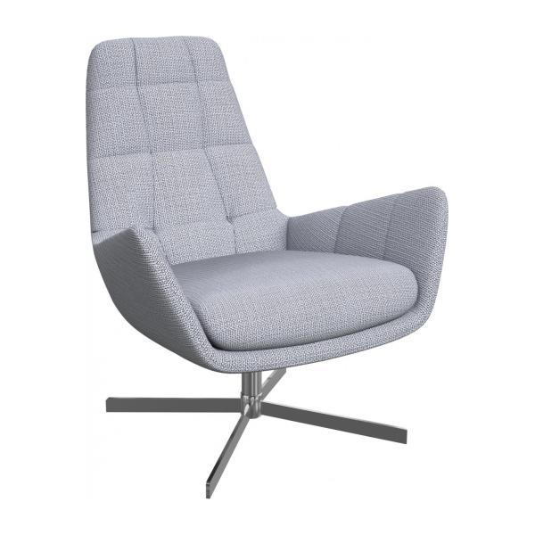 Armchair in Fasoli fabric, grey sky with metal cross leg