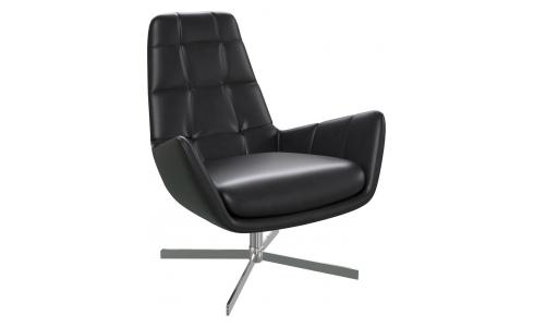 Armchair in Savoy semi-aniline leather, platin black with metal cross leg