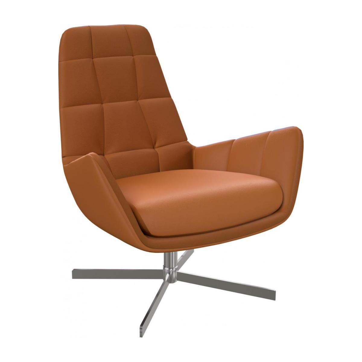 Armchair in Savoy semi-aniline leather, cognac with metal cross leg