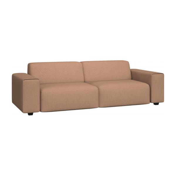 4 seater sofa in Fasoli fabric, jatoba brown