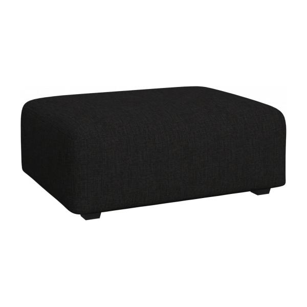 Footstool in Ancio fabric, nero