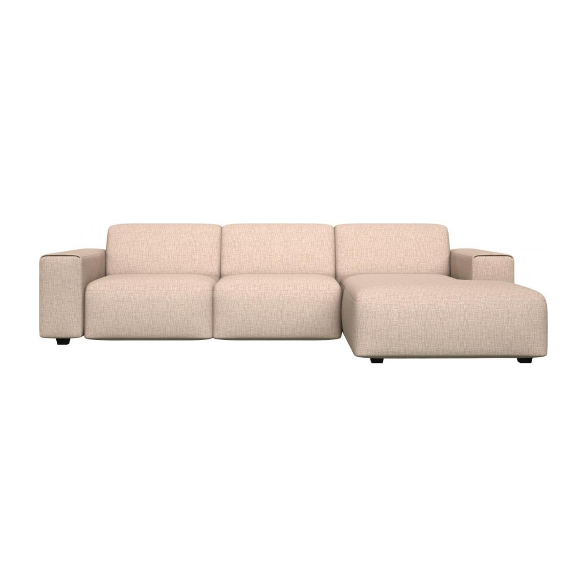 3 seater sofa with chaise longue on the right in Ancio fabric, nature n°2