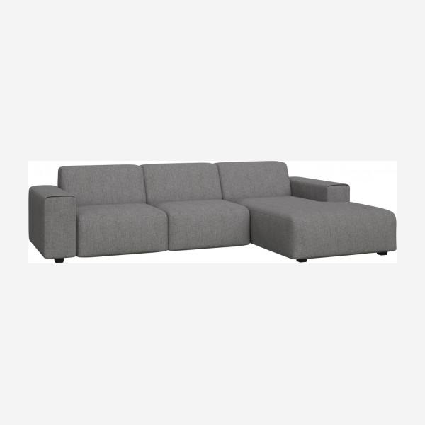 3 seater sofa with chaise longue on the right in Ancio fabric, river rock
