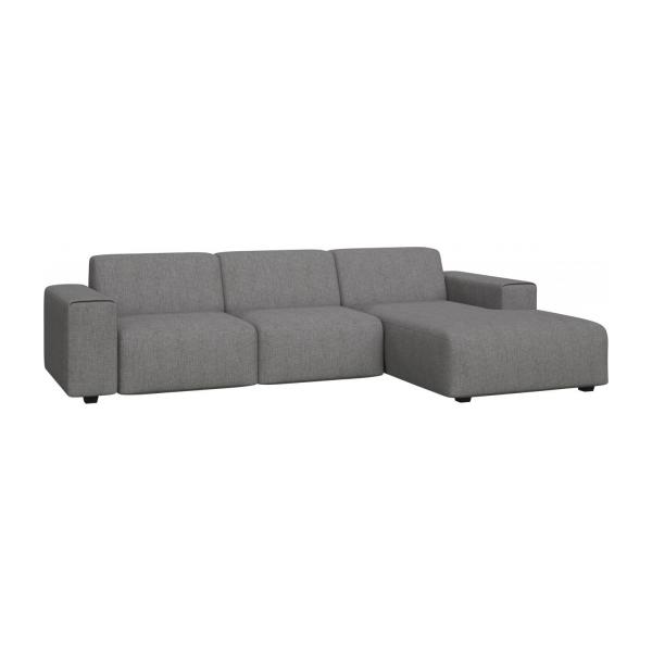 posada 3 sitzer sofa mit chaiselongue rechts aus stoff grau meliert habitat. Black Bedroom Furniture Sets. Home Design Ideas