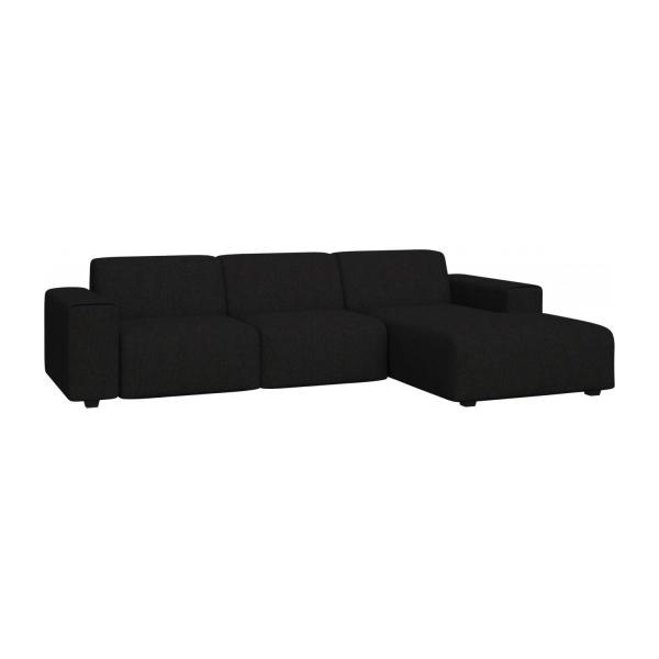 3 seater sofa with chaise longue on the right in Ancio fabric, nero