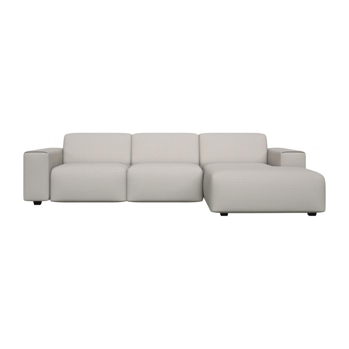 3 seater sofa with chaise longue on the right in Fasoli fabric, snow white n°2