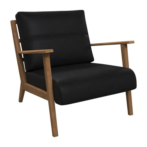 Armchair in Pullman aniline leather, soft black n°1