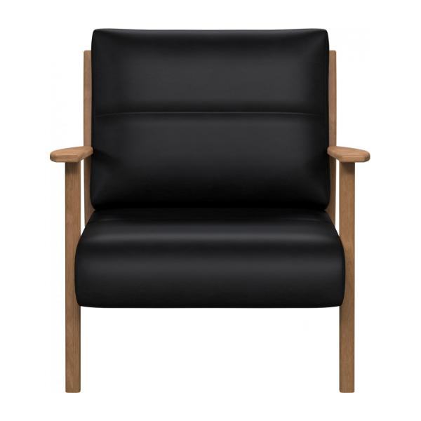Armchair in Pullman aniline leather, soft black n°2