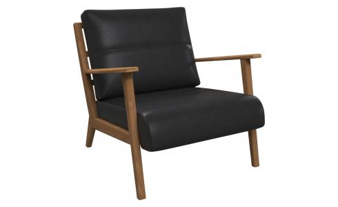 Armchair in Savoy semi-aniline leather, platin black