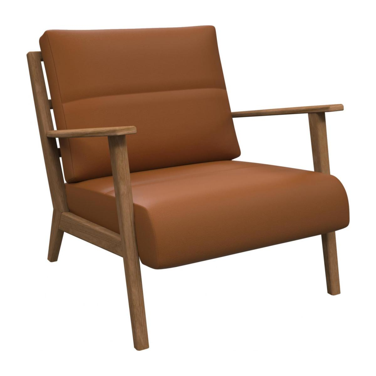 Armchair in Savoy semi-aniline leather, cognac n°1