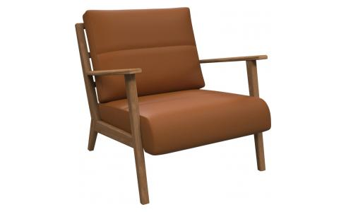 Armchair in Savoy semi-aniline leather, cognac