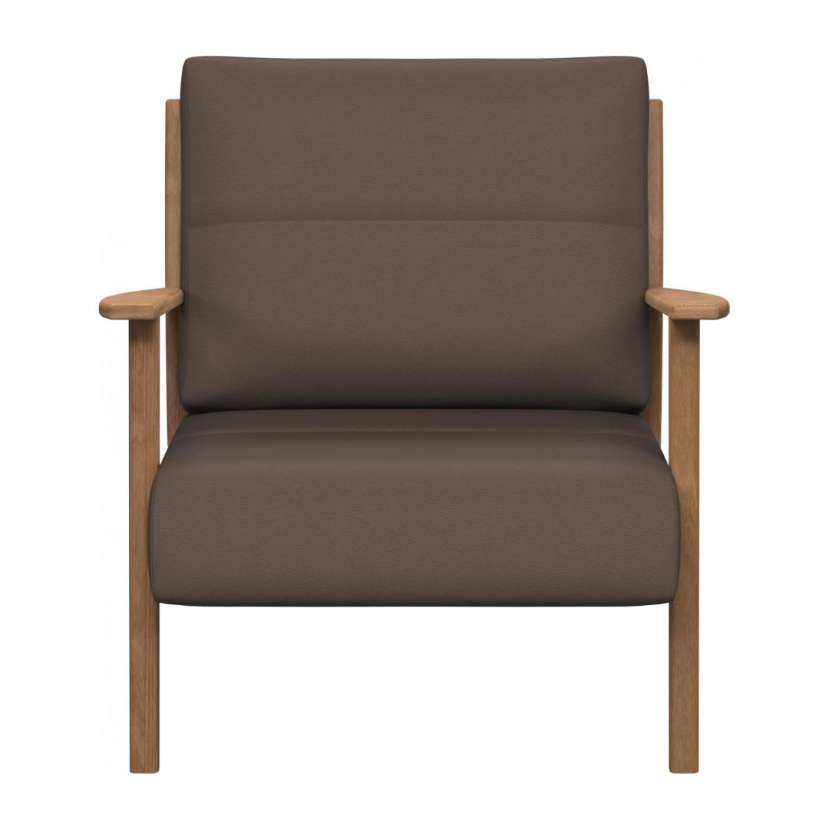 Armchair in Eton veined leather, stone n°2