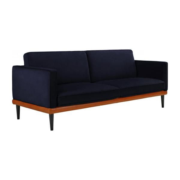 giorgio 3 sitzer sofa aus samt marineblau und basis aus leder habitat. Black Bedroom Furniture Sets. Home Design Ideas