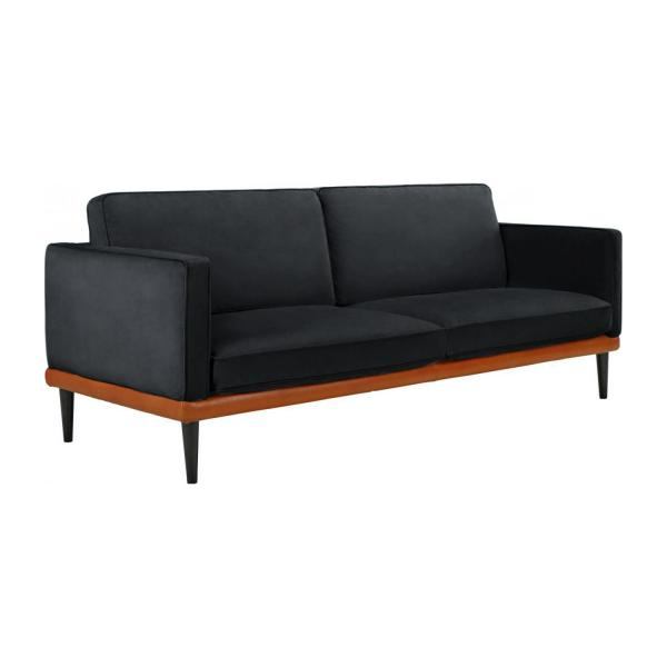 giorgio 3 sitzer sofa aus samt grau und basis aus leder habitat. Black Bedroom Furniture Sets. Home Design Ideas