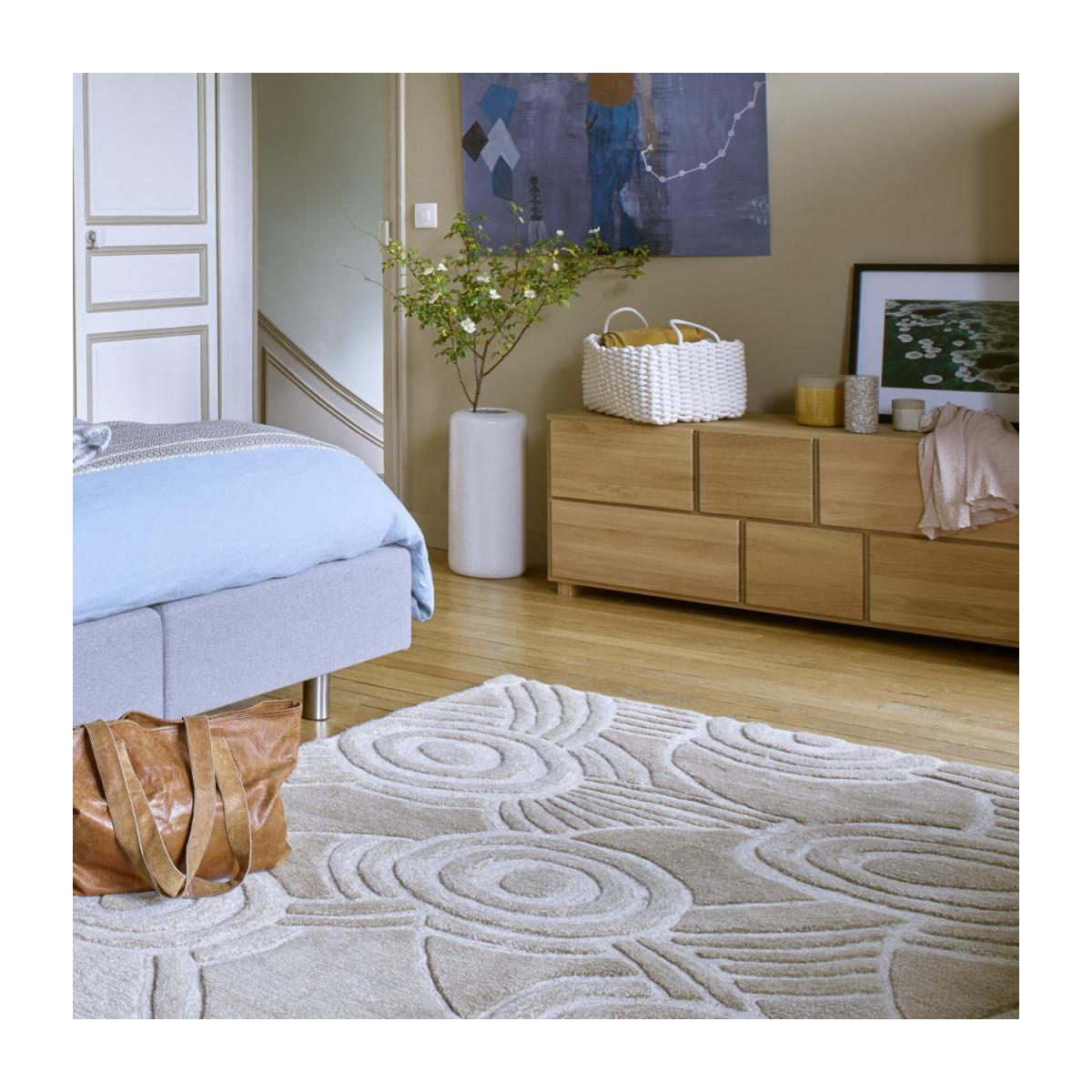 Tufted carpet 170x240, beige with patterns n°2