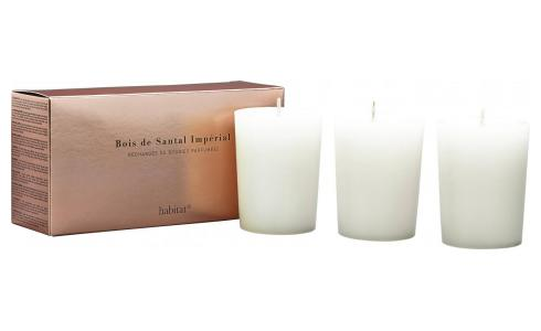 Refill for 3 medium Sandalwood scented candles, 3 x 150 g