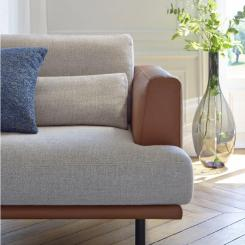 2 seater sofa in Lecce fabric, slade grey with base and armrests in brown leather