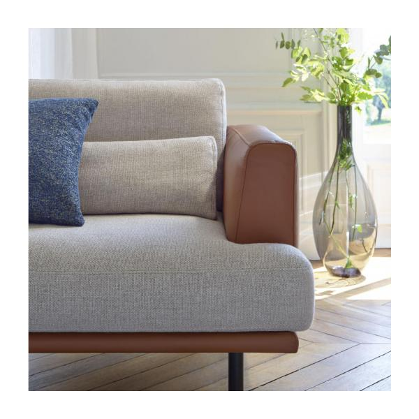 2 seater sofa in Lecce fabric, blue reef with base in brown leather n°3