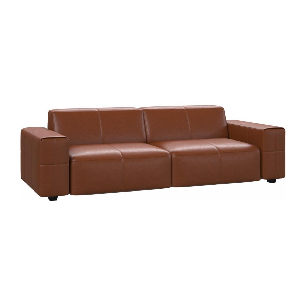 4 seater sofa in Vintage aniline leather, old chestnut n°1