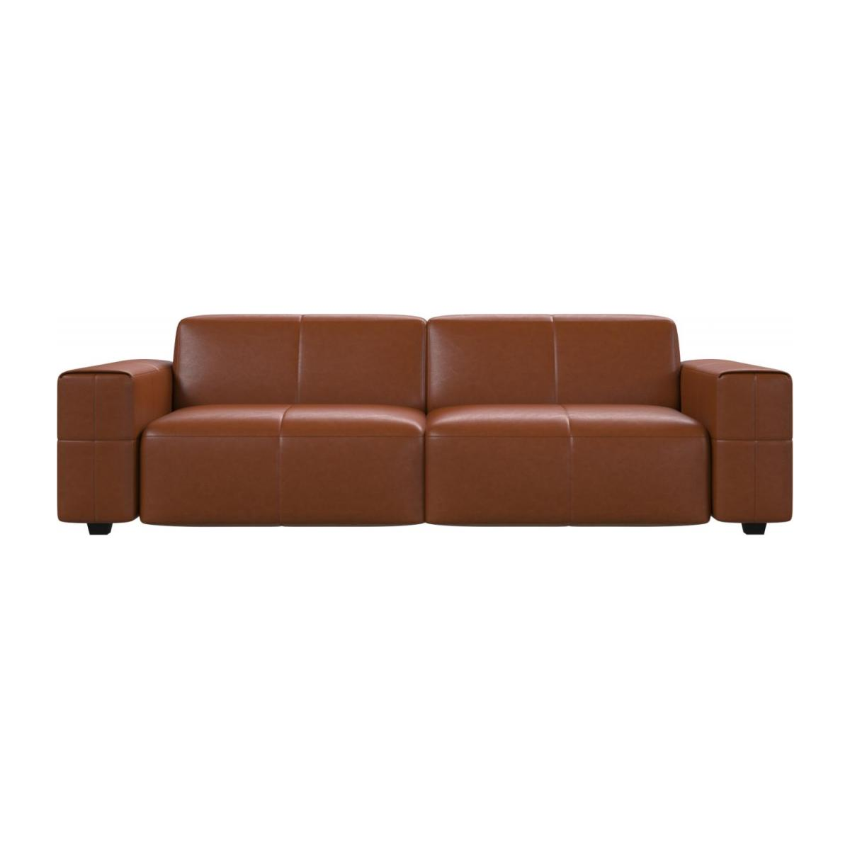 4 seater sofa in Vintage aniline leather, old chestnut n°2
