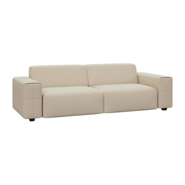 4 Seater Sofa In Savoy Semi Aniline Leather, Off White N°1