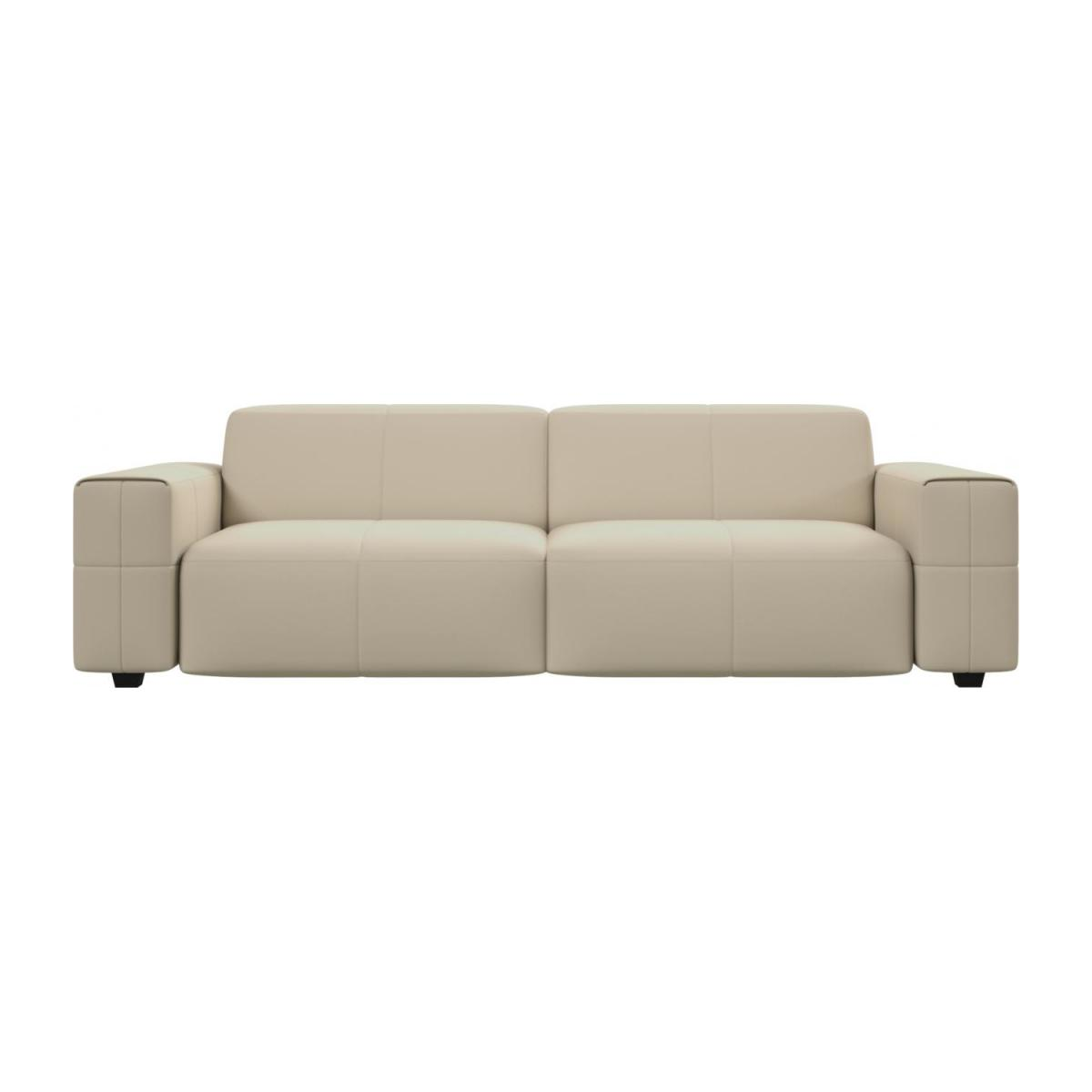 4 seater sofa in Savoy semi-aniline leather, off white n°2