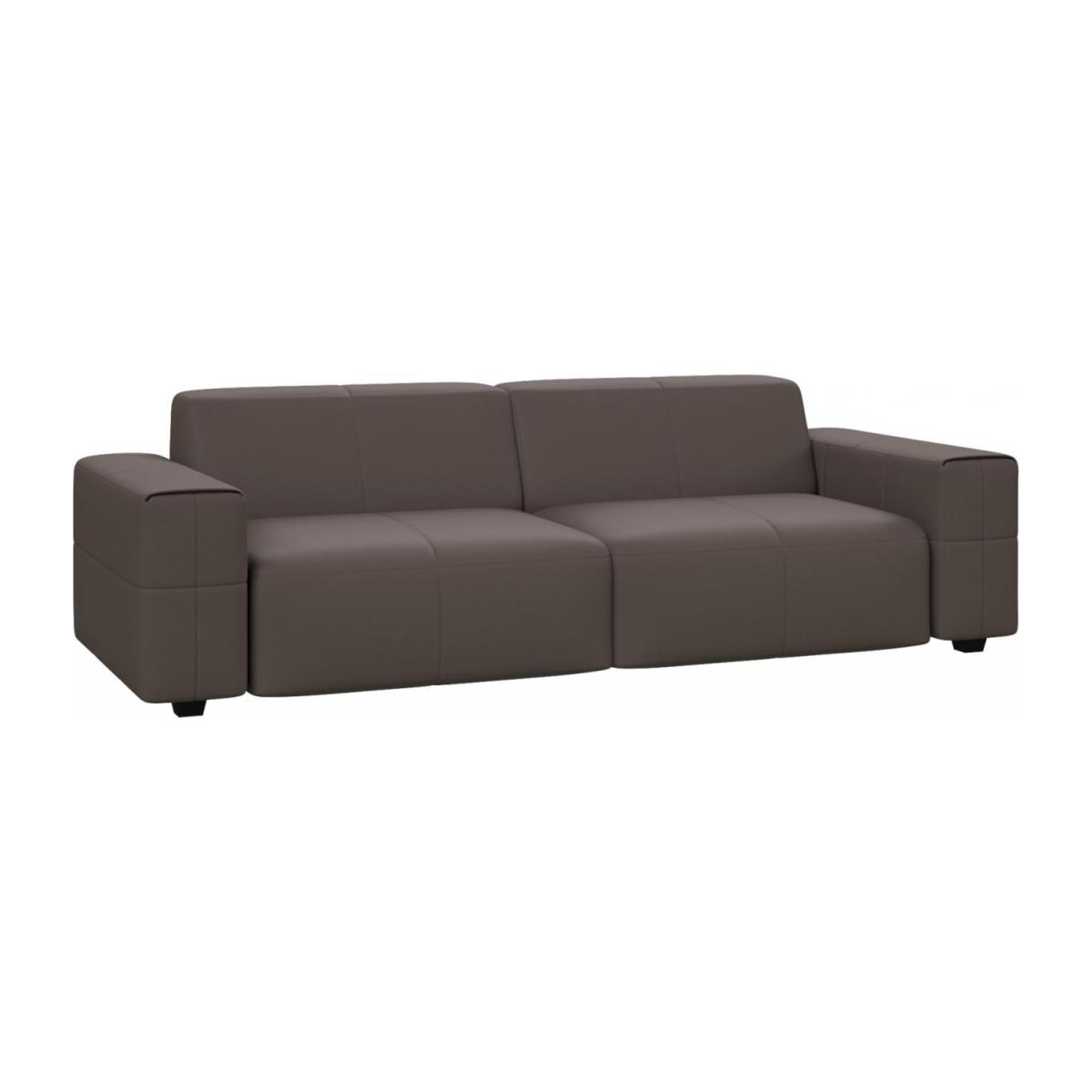 4 seater sofa in Eton veined leather, stone n°1