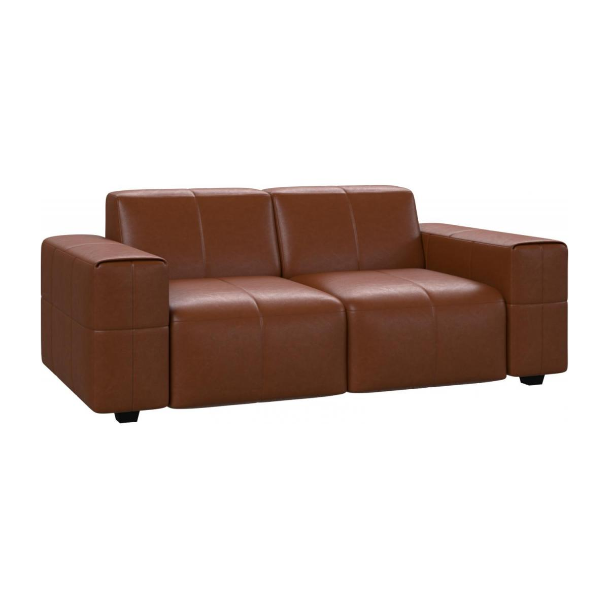 2 seater sofa in Vintage aniline leather, old chestnut n°1