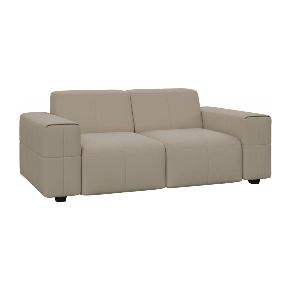 2 seater sofa in Savoy semi-aniline leather, off white n°1