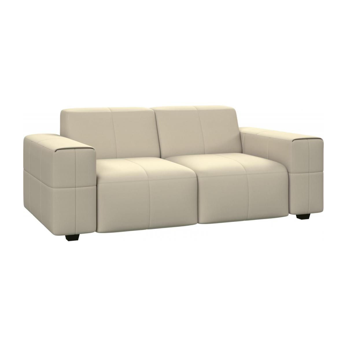 2 seater sofa in Eton veined leather, cream n°1