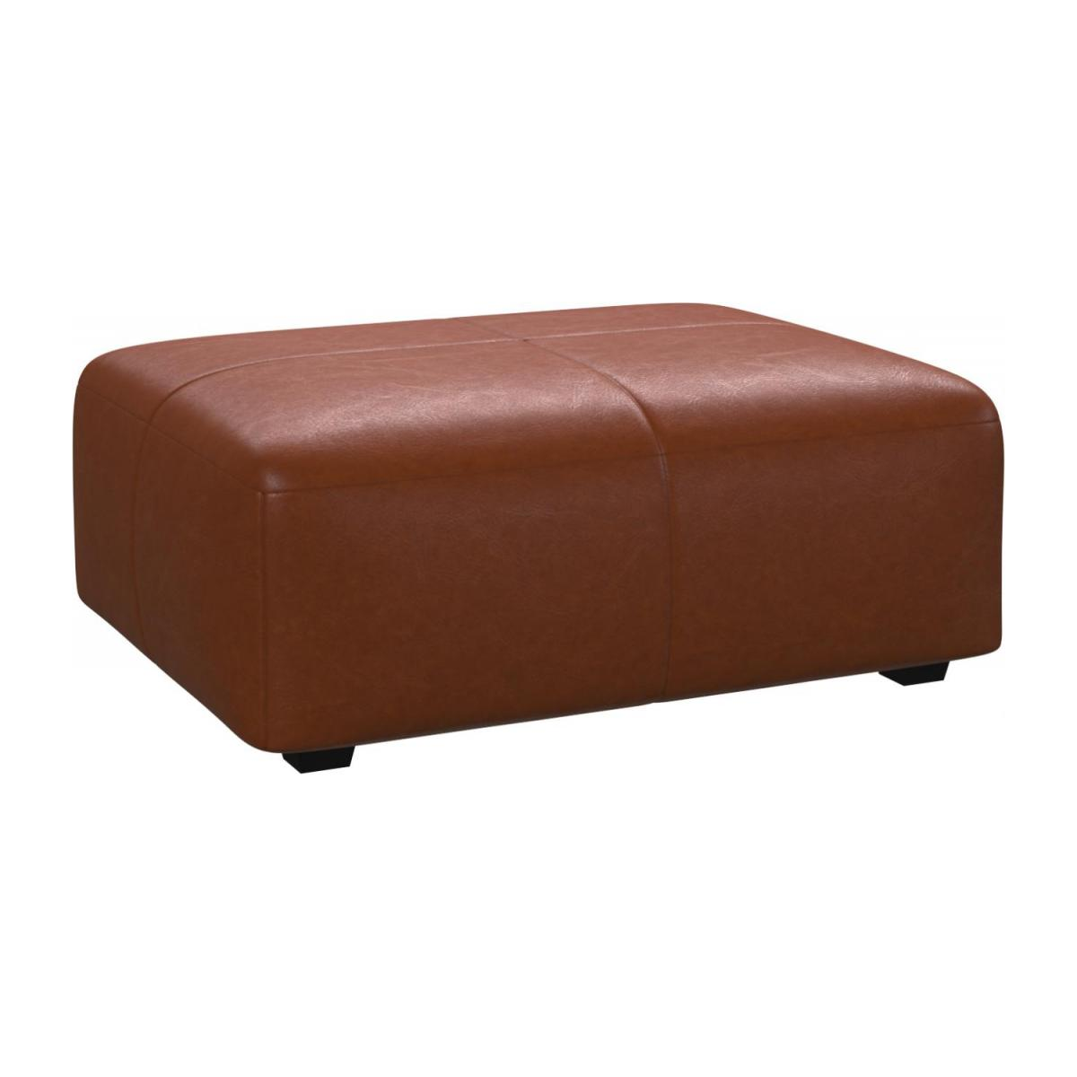 Footstool in Vintage aniline leather, old chestnut n°1