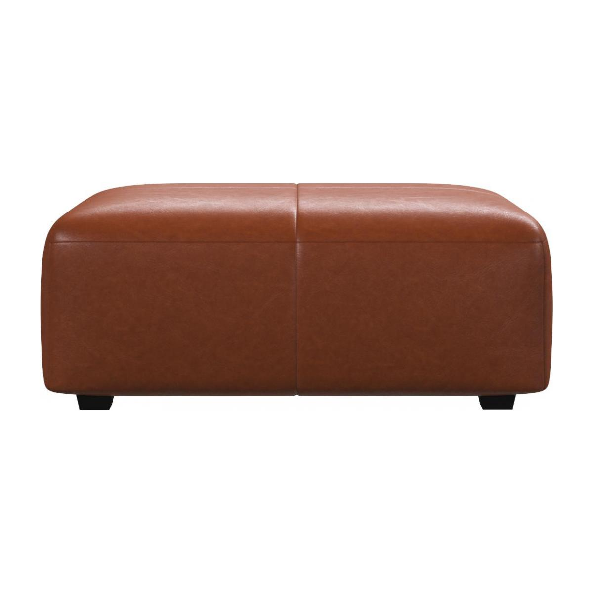 Footstool in Vintage aniline leather, old chestnut n°2