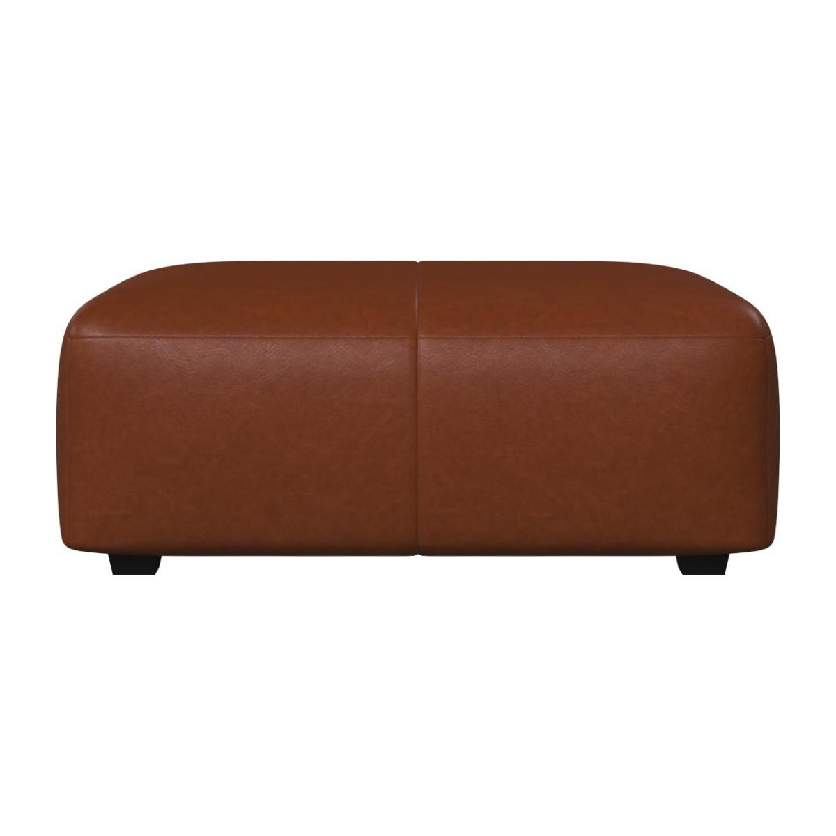 Footstool in Vintage aniline leather, old chestnut n°3