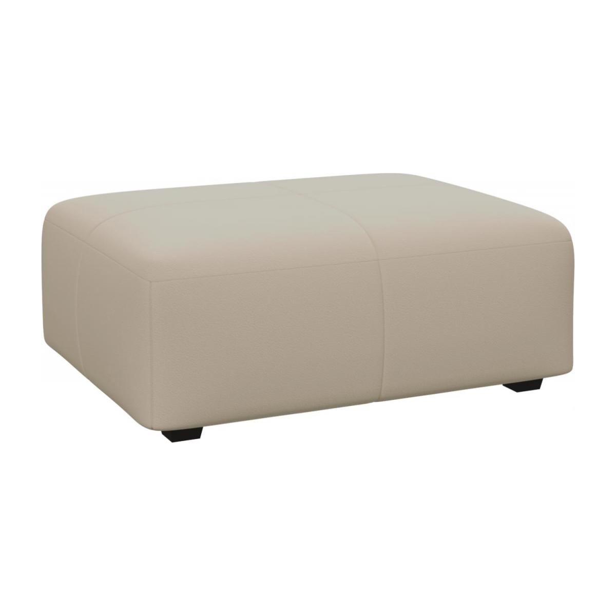 Footstool in Savoy semi-aniline leather, off white n°1